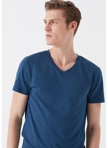 Mavi V Yaka Streç Basic Tişört Mavi